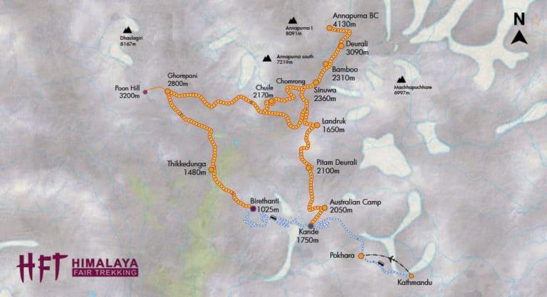 Grafische Darstellung des Tourenverlaufs des Annapurna Base Cam Treks