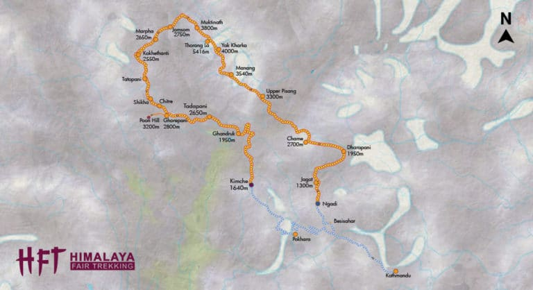 Grafische Darstellung des Tourenverlaufs und der Tagesetappen auf der Große Annapurna Runde (T103):