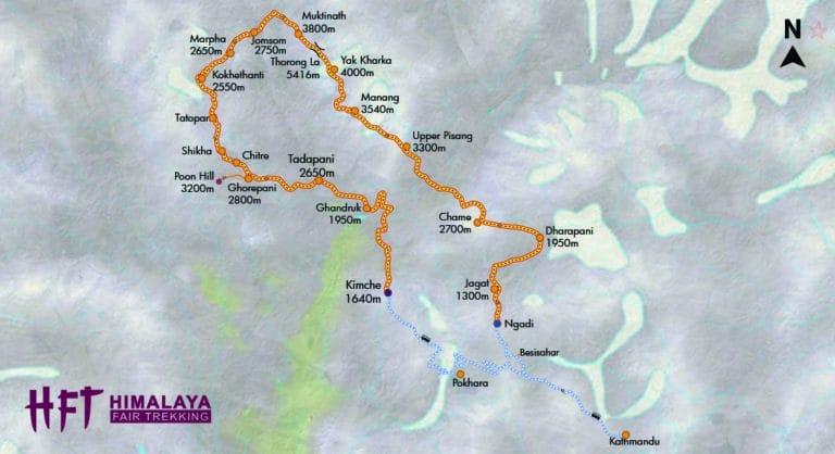 Nepal: Grafische Darstellung des Tourenverlaufs auf dem Trek rund um die Annapurna /Annapurna Curcuit