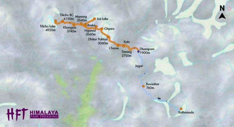 Nepal: Tilicho Lake Trek (T104): Tourenverlauf/Map/ItineryT104 tilicho-lake-trek final