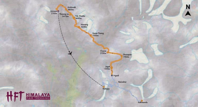 Grafische Darstellung des Tourenverlaufs und der Tagesetappen auf der Kleinen Annapurna Runde (T109)