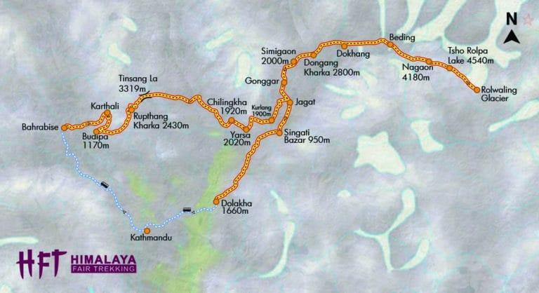 Nepal: Trek durchs wilde Rolwaling zum Tso Rolpa (T128) Tourenverlauf/Map/Karte