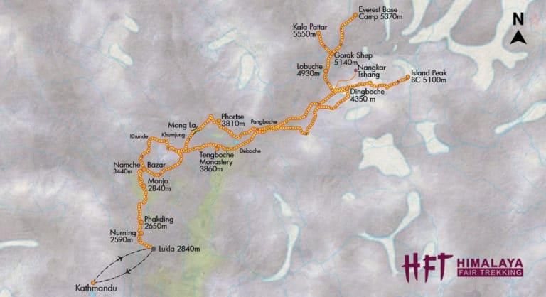 Nepal: Trek über den Chukhung Ri zum Island Peak (T131) Tourenverlauf/Map