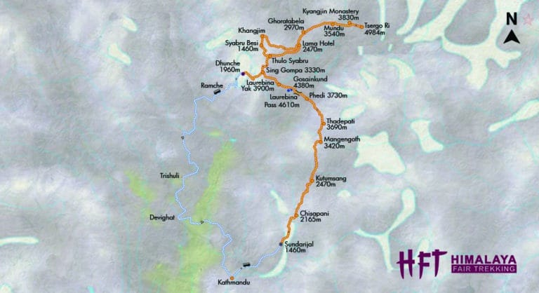 Nepal: Große Langtang-Durchquerung (T141) Tourenverlauf/Map
