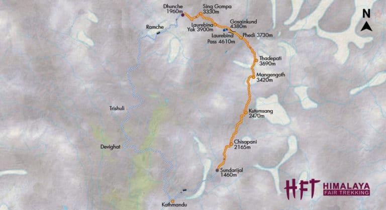 Nepal, Langtang: Trek von Helambu zu den heiligen Seen von Gosainkund (T143): Map/Tourenverlauf