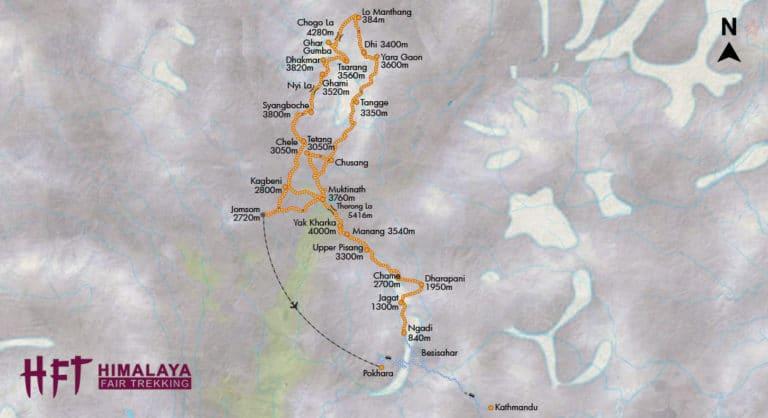 Nepal: Annarpurna Runde kombiniert mit dem Trek durch das ehemalige Königreich Mustang (T150): Karte/Map/Tourenverlauf