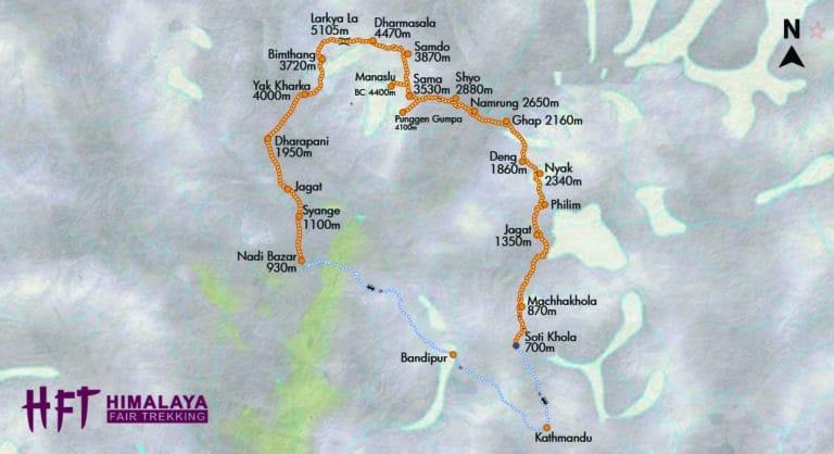 Nepal: Trek und um den Manaslu (T162) Tourenverlauf/Map