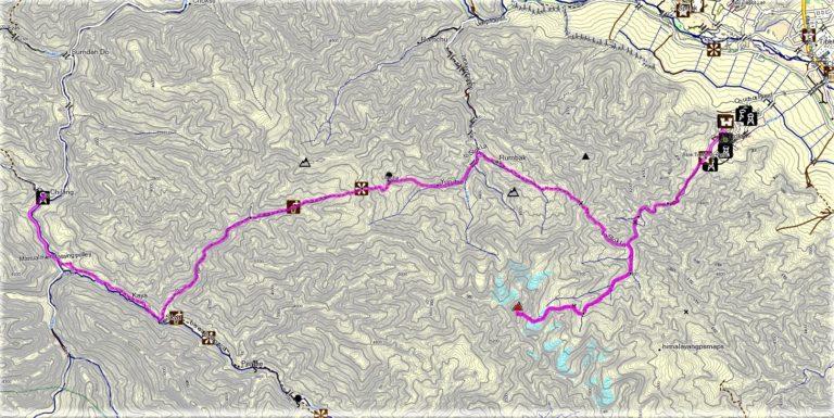 Indien/Ladakh: Trek von Chilling zum Stok Kangri (T503) Map/Karte/Tourenverlauf
