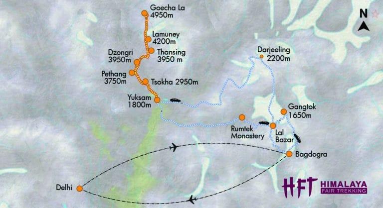 Sikkim & Darjeeling: Genießertrek im Reich des Kanchenjunga (T520) Tourenverlauf / Itinery / Ma
