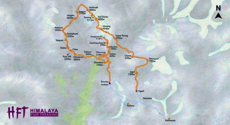 Grafische Darstellung des Tourenverlaufs und der Tagesetappen auf dem Trek T106