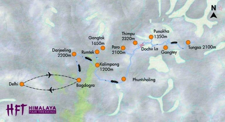 Bhutan, Sikkim, Darjeeling: Verborgene Paradiese im Himalaya (T409) Itinery / Map / Tourenverlauf