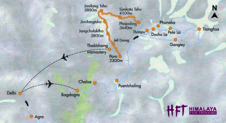 Bhutan: Trekking & Kultur im Land des Donnerdrachens (T402) Itinery / Map / Reiseverlauf