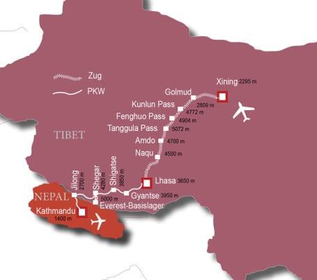 Mit der Tibetbahn aufs Dach der Welt. Von Xining nach Lhasa (T210).Tourenverlauf/Map/Karte