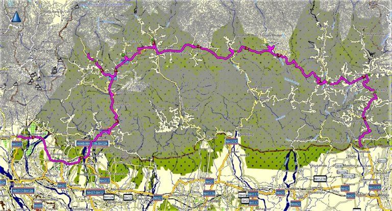 Bhutan: Große Bhutan-Durchquerung von West nach Ost (T408) mit Tiger Nest Kloster, Timphu, Paro Dzong, Tongsa Dzong, Punakha Dzong Map/Karte/Reiseverlauf
