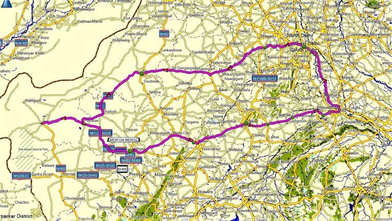 Indien: Rajasthan mit Kameltrekking (T511) Map/Karte/Tourenverlauf