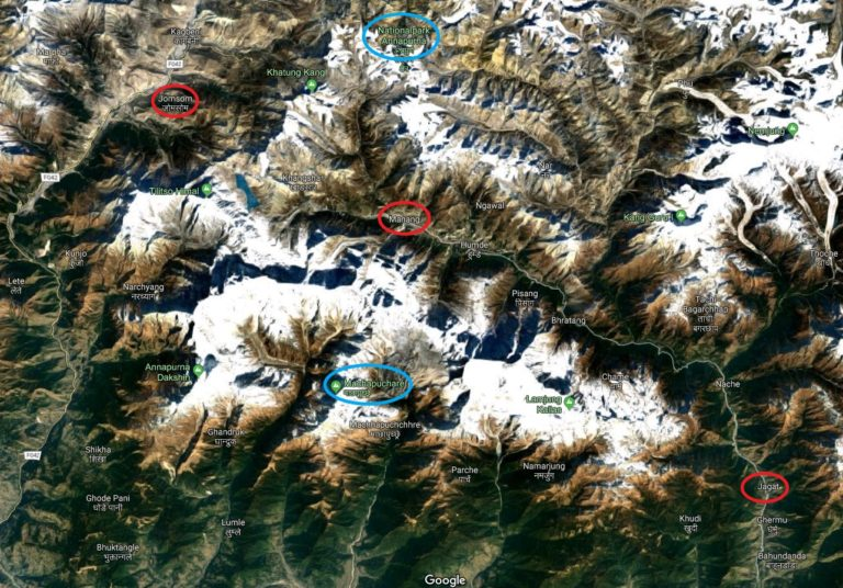 Nepal Annapurna-Gebiet, Satellitenbild