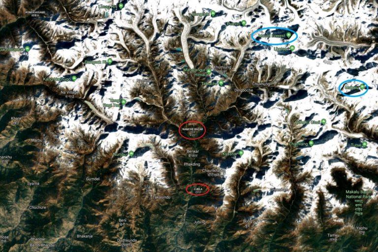 Nepal Everest-Gebiet, Satellitenbild