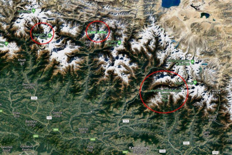 Langtang, Tsum Valley und Manaslu Satellitenbild