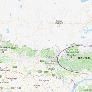 Die Lage von Bhutan (Google Maps)