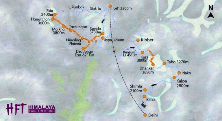 Indischer Himalaya: Trekking im Spiti Valley und anschließend Besteigung des Dzo Jongo East Peak (T532) inb Ladakh. Karte / Map / Reiseverlauf