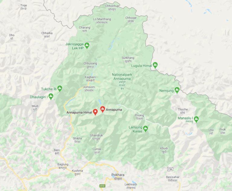 Lage des Annapurna-Gebiets in Nepal