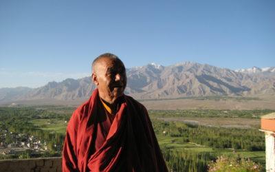 Mönch in Ladakh, im Hintergrund Felder und eine Gebirgskette